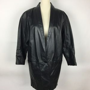 LAURICE Vintage Black Leather Mid Length Coat